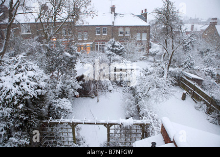 View of suburban gardens covered by snow on the 2nd of February 2009 the heaviest snow falls in London for 18 years - Stock Photo