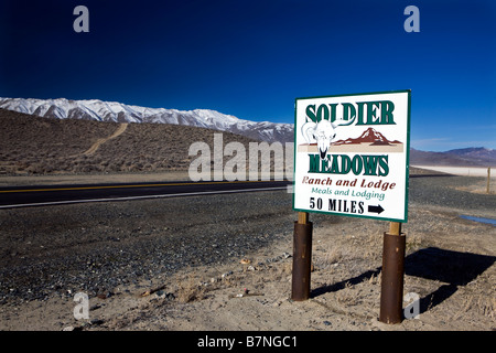 Road sign off of county route 34 for Soldier Meadows Ranch and Lodge Black Rock Desert Gerlach Nevada - Stock Photo