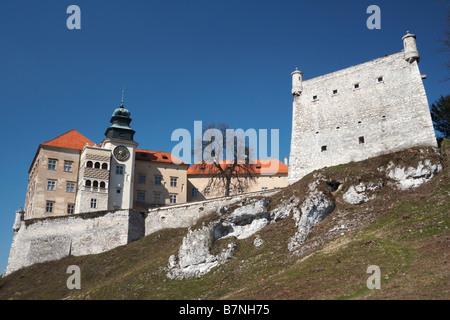 Pieskowa Skala Castle in Ojcow NP of Poland Pieskowa Rock (Eagles Nests) - Stock Photo