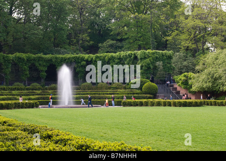 Italian Formal Garden at the Conservatory Garden in Central Park - Stock Photo