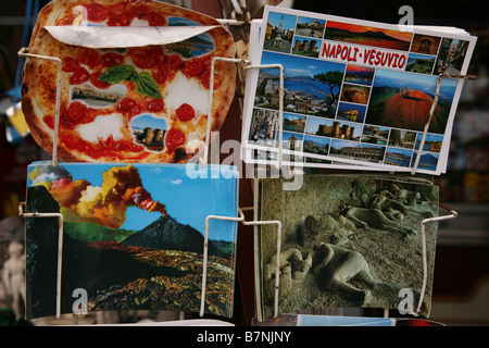 Postcards in a souvenir shop on the summit of Mount Vesuvius in Campania, Italy. - Stock Photo