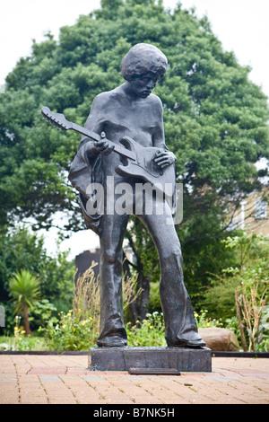 Statue of Jimi Hendrix on the Isle of Wight - Stock Photo
