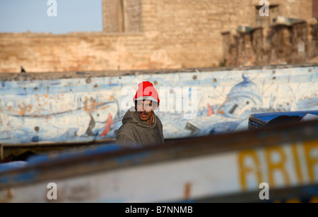 a local fisherman working in the port of essaouira in morocco - Stock Photo