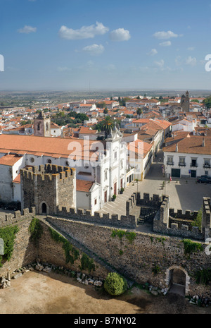 The Alentejo, Beja, The View From The Torre De Menagem Tower Over The Mouraria area of town - Stock Photo