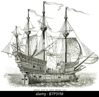 great ship king henry viii cannon mast sail deck soldier flag sailing sea ocean battle war The Mary Rose was an English Tudor ca Stock Photo