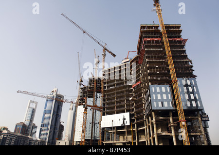building under construction in Dubai city - Stock Photo