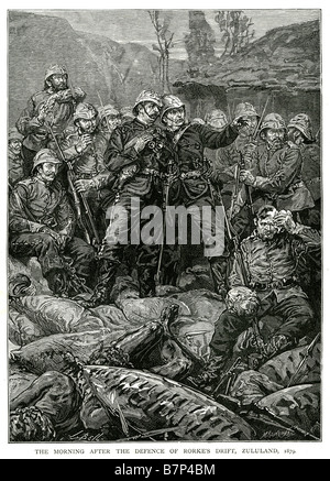 morning after defence rorke's drift zululand 1879 death war battle bodies dead shield spear native british rifle - Stock Photo