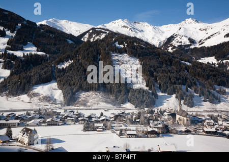Rauris Austria Alpine ski resort in Austrian Alps with snow in Rauriser Sonnen Valley and on Sonniblick Mountains - Stock Photo