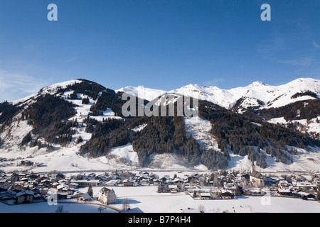 Rauris Austria Alpine ski resort in Austrian Alps with snow in Rauriser Sonnen Valley and on Sonniblick Mountains - Stock Photo