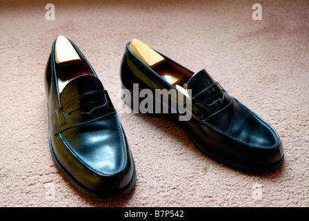 Paris France, Shopping Men's Fancy Dress Shoes Loafers Luxury Brands, Black Leather 'J.M. Weston' - Stock Photo