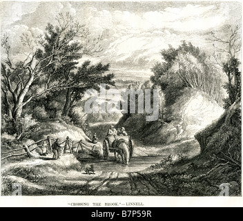 crossing brook linnell cart horse stream fence dog family forest track road travel transport - Stock Photo