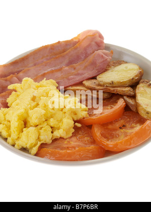 Cooked Breakfast Streaky Bacon and Scrambled Egg - Stock Photo