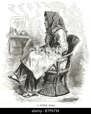 Chinese Woman chair sitting traditional clothing profile The term Chinese people may refer to any of the following: - Stock Photo