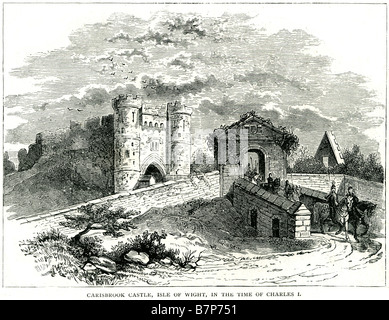 Carisbrook Castle Isle Whight Charles 1st I motte and bailey fort soilders riding turret moat gate house walls - Stock Photo