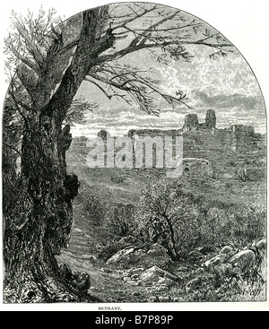 Bethany St Mathew xxi 17 View ruin building God Jesus bible holy testament old new Christ Christian Christianity - Stock Photo