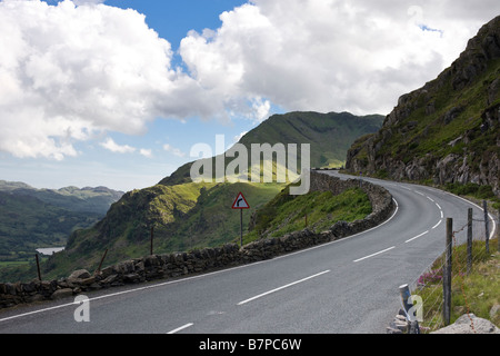 Road in Snowdonia, North Wales - Stock Photo