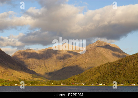 Loch Leven and Glencoe village Bidean Nam Bian behind, Lochaber, Scotland, May - Stock Photo