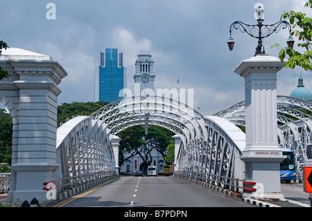 Anderson Bridge Singapore river Colonial District Raffles Landing site clock tower - Stock Photo