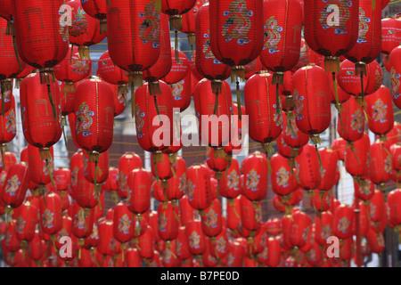 Chinese Lanterns in Chinatown, London - Stock Photo