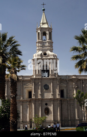 Basilica Cathedral of Arequipa Plaza de Armas Peru - Stock Photo