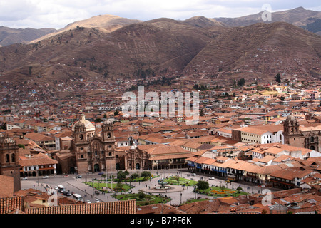 The view of the Plaza de Armas and the surrounding landscape of Cusco, Peru - Stock Photo