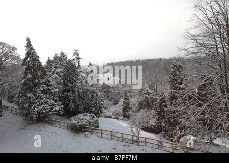 Snow scene taken in Knaresborough, North Yorkshire, England. - Stock Photo