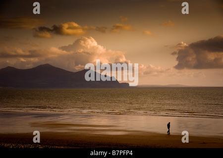 Single walker on beach at Dinas Dinlle Wales Sunset Sunrise - Stock Photo