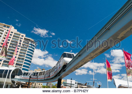 Monorail Central Business District  Darling Harbour Sydney Australia - Stock Photo