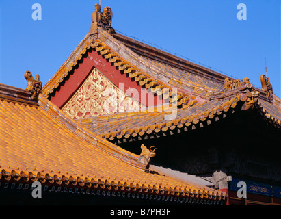 Forbidden City temple roof in sun Beijing China - Stock Photo