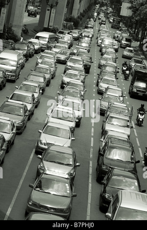 Traffic congestion Pathumwan district in central Bangkok Thailand - Stock Photo