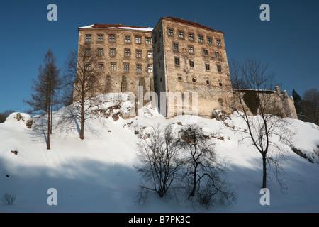 Pieskowa Skala Castle in Ojcow in winter NP of Poland Pieskowa Rock (Eagles Nests) - Stock Photo