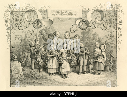 Circa 1870s steel engraving: 'A Song of Welcome,' drawn by Adrian Ludwig Richter, engraved by J Burkner. - Stock Photo