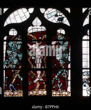 Heilbronn, Kilianskirche, St. Kilian, Glasfenster von Charles Crodel, Kreuzigung - Stock Photo