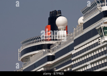 Close up of Funnel and Upper Decks of Cunard Queen Victoria in her home birth of Southampton, Hampshire, England - Stock Photo