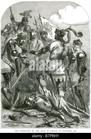 surrender King France Poictiers 1356 Solider fighting battle war attack death siege fight charge The Battle of Poitiers - Stock Photo