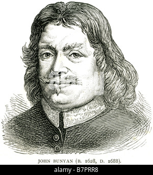 John Bunyan 1628 1688 English Christian writer preacher Pilgrim's Progress Face portrait profile - Stock Photo