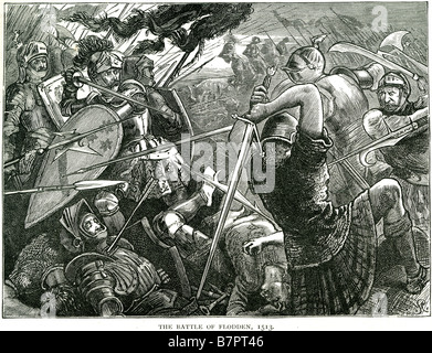 Battle Flodden 1513 Northumberland King James IV Solider fighting battle war attack death siege sword shield fight - Stock Photo