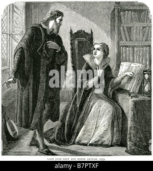 lady jane grey and roger ascham 1553 Lady Jane Grey (1536/1537 – 12 February 1554), also known as Queen Jane of - Stock Photo
