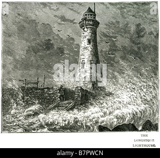 the longstone lighthouse Longstone Lighthouse was built and designed by Joseph Nelson in 1826, and was originally - Stock Photo