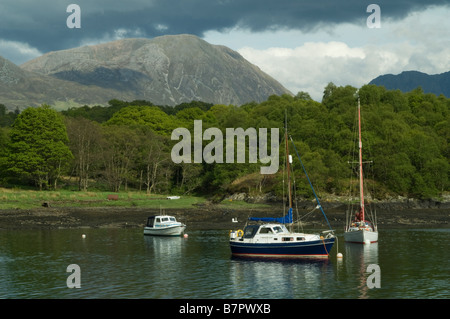 Yachts moored on Loch Leven near Glencoe in Scotland - Stock Photo