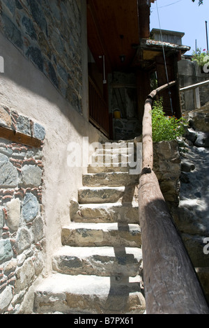 Kakopetria village view scene with stairs in Troodos mountains, South Cyprus - Stock Photo