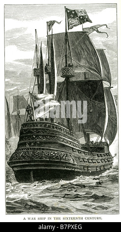 War Ship Sixteenth Centuary 16th sea battle sailing armada fleet A warship is a ship that is built and primarily - Stock Photo