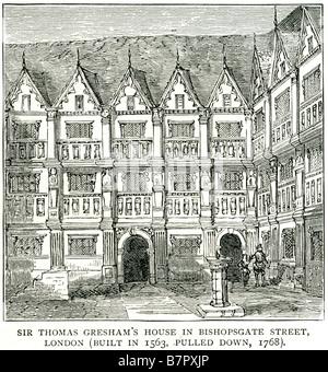 Sir Thomas Gresham's House Bishopsgate Street London England UK GB Great Britain Sir Thomas Gresham (c. 1519 – 21 - Stock Photo