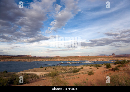 Recreation are with boats on Lake Powell near Page in Arizona, USA - Stock Photo