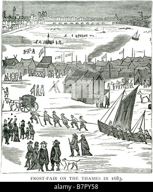 Frost fair on the Thames in 1683 frozen river London GB UK Great Britain England United Kingdom English British - Stock Photo
