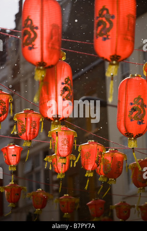 Snow in Chinatown. - Stock Photo