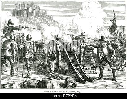Monks siege Tantallon 1651 firing cannon war loading attack UK North Berwick East Lothian Scotland 14th century - Stock Photo