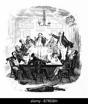 Mr Pickwick Addresses The Club the first illustration by Seymour for Charles Dickens comic novel - Stock Photo