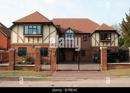 Bromley Bickley Kent UK large newly built detached family  modern house  in traditional timber frame style Home - Stock Photo