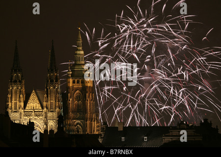 New Year firework over St Vitus Cathedral in the Prague Castle in Prague, Czech Republic, on January 1, 2009. - Stock Photo